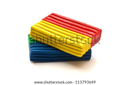 Colorful molding dough for children isolated on white background