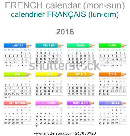 Colorful Monday to Sunday 2016 Calendar with Crayons French Version Illustration - stock photo