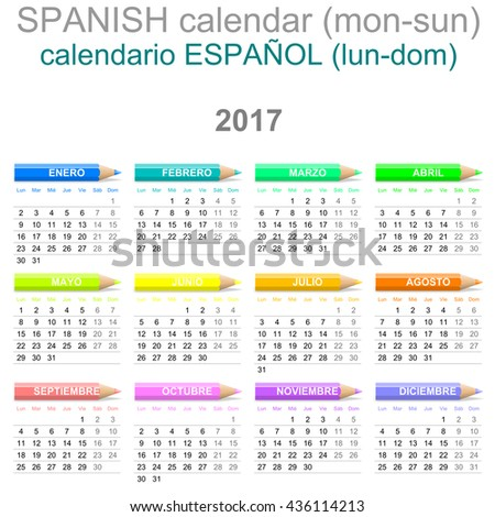 Colorful Monday to Sunday 2017 Calendar with Crayons Spanish Version Illustration