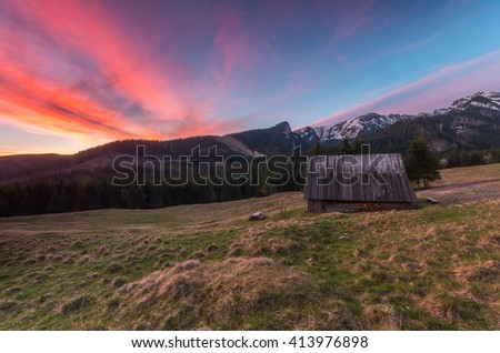Colorful morning on Kalatowki meadow in Tatra mountains, Poland