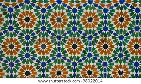 Colorful moroccan mosaic wall design. - stock photo