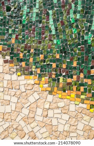 Colorful mosaic background texture outdoor - stock photo