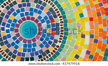 Colorful mosaic flooring.
