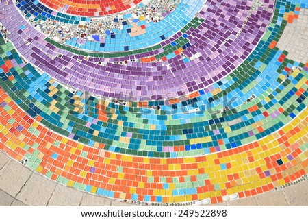 colorful mosaic flooring or walls. - stock photo