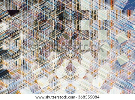 Colorful mosaic illustration created with lines, triangles and squares. Decorative festive composition.
