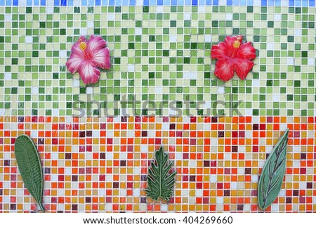 Colorful mosaic in the bathroom over seventy years old tiles for floors and walls in southern thai Museum:Close up,select focus with shallow depth of field:ideal use for background. - stock photo