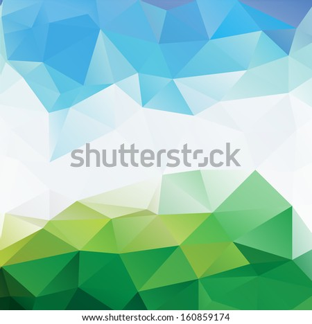 Colorful mosaic triangle background - stock photo