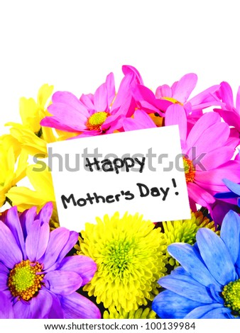 Colorful Mother's Day flowers with gift tag - stock photo