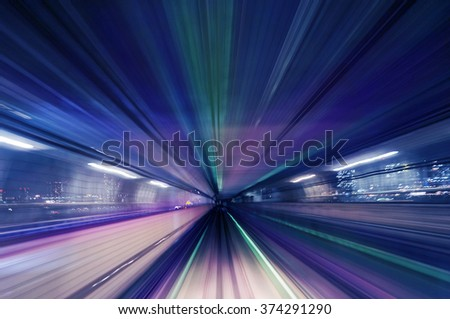 Colorful motion blur train road background with blue and some colors                          - stock photo