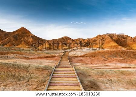 Colorful mountain in Danxia landform in Zhangye, Gansu of China - stock photo