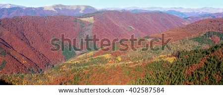 Colorful mountain slopes in autumn Carpathian. Morning misty panorama.