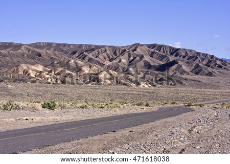 Colorful mountains and rock patterns in the mountains at Death Valley National Park, California.