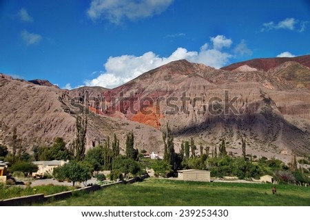 Colorful mountains of Quebrada de Humahuaca near Purmamarca, Jujuy Province, Argentina - stock photo