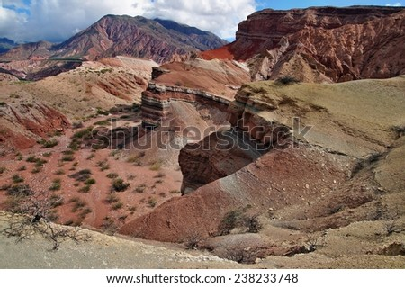 Colorful mountains of Quebrada de las Conchas near Cafayate, Salta Province, Argentina - stock photo
