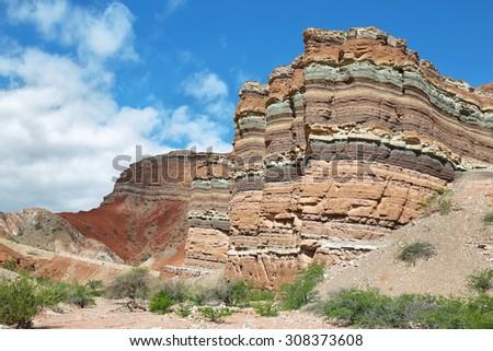 Colorful mountains of Quebrada de las Conchas near Cafayate, Salta Province, Argentina - stock photo