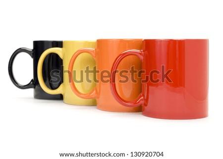 Colorful mugs - stock photo