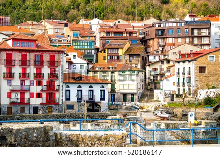 colorful mundaka village at biscay, spain