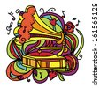 Colorful music background with the gramophone - raster version - stock