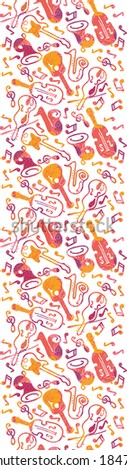 Colorful musical instruments seamless pattern background raster - stock photo