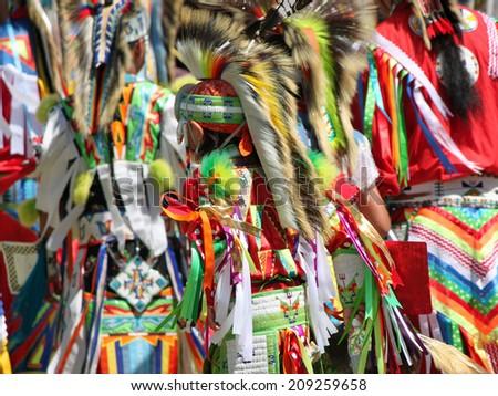 Colorful Native American Regalia at a Summer Powwow - stock photo