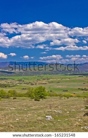Colorful nature od Lika region - Krbava field, Croatia - stock photo
