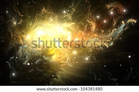 Colorful nebula created by a supernova explosion - stock photo
