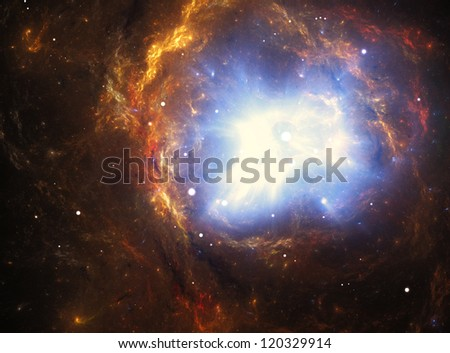 Colorful nebula created by a supernova explosion - stock photo