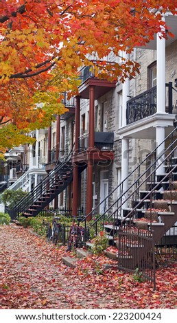 colorful neighborhood of montreal at fall - stock photo