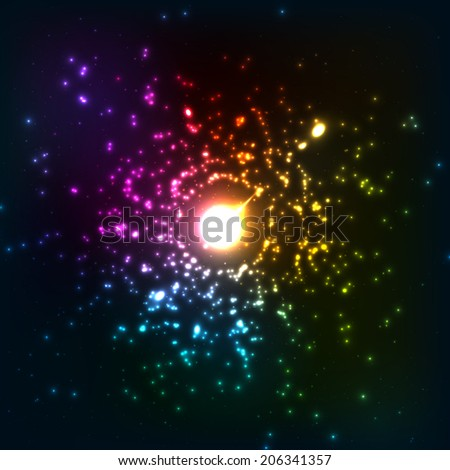 Colorful neon lights abstract cosmic explosion