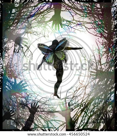 Colorful New Age Goddess or Fairy Nature Lover Butterfly Woman