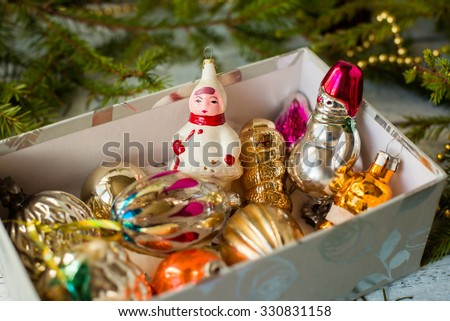 colorful New Year holiday decorations with fur-tree and toys