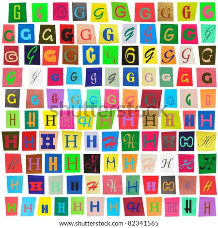 "Colorful newspaper alphabet of the letters ""G"" and ""H"" isolated on white - stock photo"