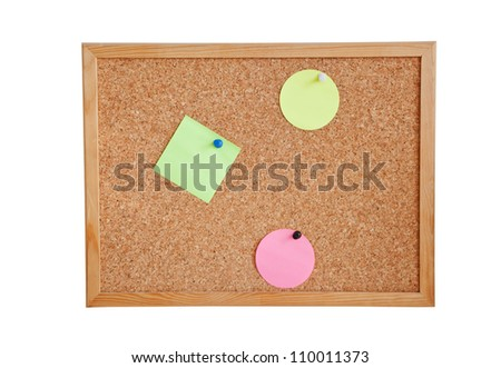 Colorful notes attached to a cork board