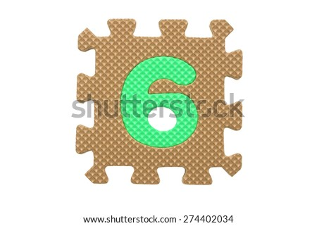 "Colorful number puzzle. Alphabet puzzle pieces isolated on white background. Number learning block for children education. The number  ""6"" is a set of alphabet made in the form of a puzzle,Easy to cut - stock photo"