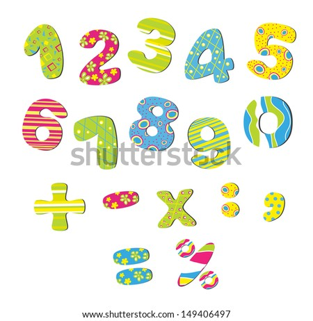 colorful numbers for children raster image