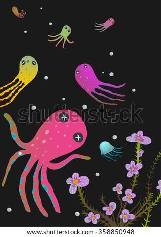 Colorful Octopus on Black Cartoon Greeting Card Design. Under the sea deep and dark marine life cute cartoon illustration. Raster variant. - stock photo
