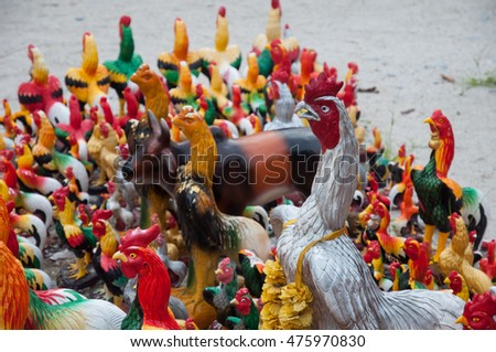 Colorful of a many chicken statues at Wat Jay-Dee temple or Wat i-Kai temple at Nakhon si thammarat, Thailand