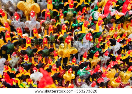 Colorful of a many chicken statues , Thailand