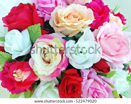 Colorful Of Artificial Flowers, Colorful Flowers Bouquet, Colorful Of The  Plastic Flowers, Beautiful