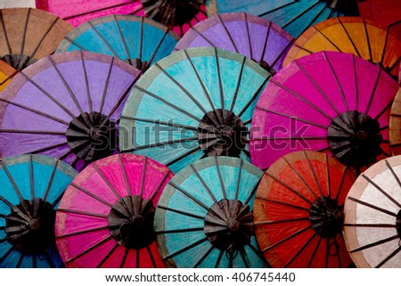 Colorful of Asian paper handcraft umbrella - stock photo