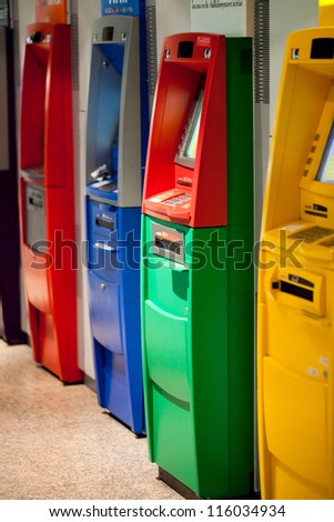 Colorful of atm machines - stock photo