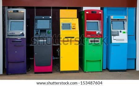 Colorful of Automated teller machine - stock photo