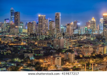 Colorful of Bangkok nightlife in blurred background image