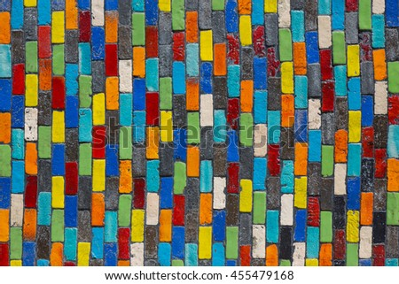 Colorful of brick wall texture are made of ceramic, abstract color background. - stock photo