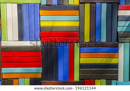 Colorful of ceramic tiles on the wall. - stock photo