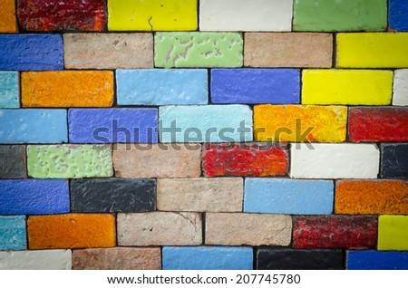 Colorful of ceramic tiles on the wall - stock photo