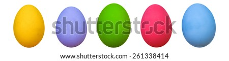 colorful of eggs for holiday easter festival panorama on white background - stock photo