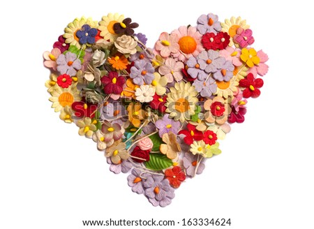 colorful of handicraft paper flower as heart shape - stock photo