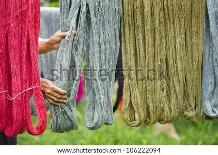 colorful of handmade threads - stock photo