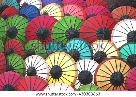 colorful of handmade umbrella, tone color photo and selective focus